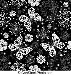 Seamless black-white christmas graphic pattern with...