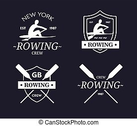 Rowing team logo. Vector emblem of rowing crew with paddles....
