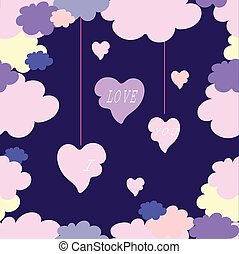 Spring wallpaper with hearts. background. Vector