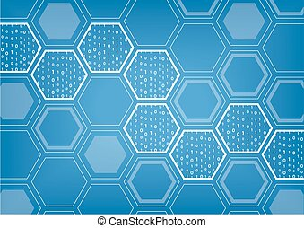 Blockchain blue vector background with hexagonal shaped...