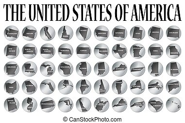 50 United States Coins - 50 coins representing the 50 states...