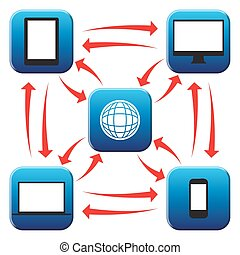Web Connected Icons - Electronic device icons connected to...
