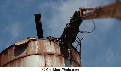 Demolition crane arm destroy rusty metal construction -...