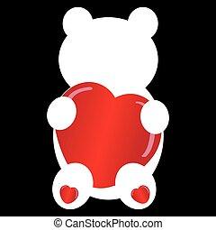 Teddybear silhouette on black background. Vector...