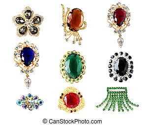 collection of vintage brooches isolated on white