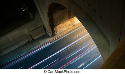 Tunnel Traffic Time-lapse - On a slow shutter speed, blurred...