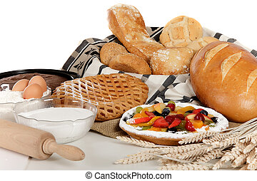 Type of bread, fruits pie, ingredients - Display of various...