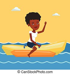 Tourists riding a banana boat vector illustration.