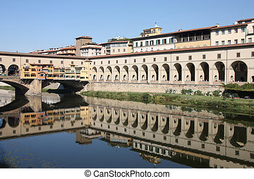 Florence - Cityscape of Florence, Italy with river Arno...