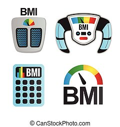 BMI or Body Mass Index Icons - BMI or Body Mass Index...