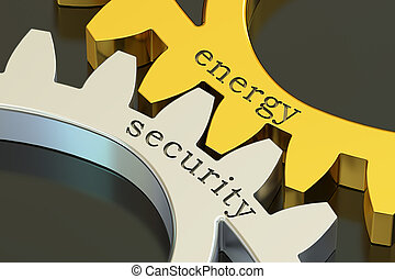 Energy Security concept on the gearwheels, 3D rendering