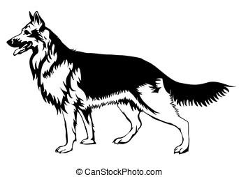 Decorative German shepherd vector Illustration - Decorative...