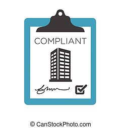 In Compliance Graphic with checkmarks and building icon set