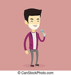 Man shaving his face vector illustration. - Man shaving his...