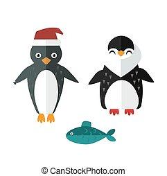 Penguin sailor santa vector animal character illustration. -...