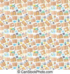 Carrying boxes seamless pattern warehouse shipping...