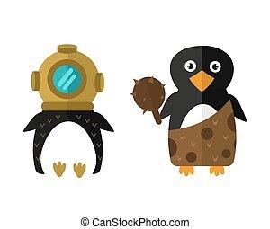 Penguin aqualung vector animal character illustration. -...