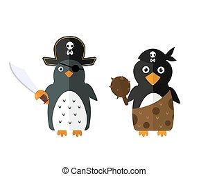Penguin pirate vector animal character illustration. -...