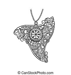 Pendant ornament in Celtic style. Ancient amulet with runes...