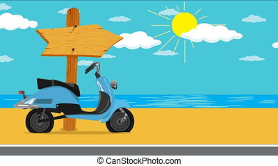 Summer vacation by the sea - Blue Motor scooter on the beach...