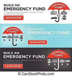 Financial Emergency Fund Icons with Umbrella - Home or...