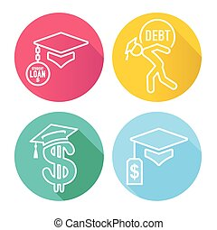 Graduate Student Loan Icons - Student Loan Graphics for Education Financial Aid or Assistance, Government Loans, and Debt