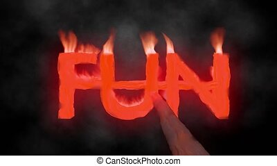 Fun hot text brand branding iron metal flaming heat flames...