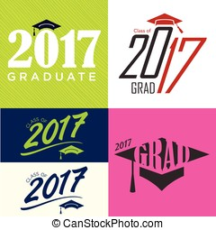 Class of 2017 Graduate Typography  Vector Designs