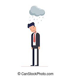 Concept of pessimist businessman or manager for the crisis....