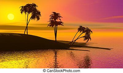 paradis, île, Coucher soleil