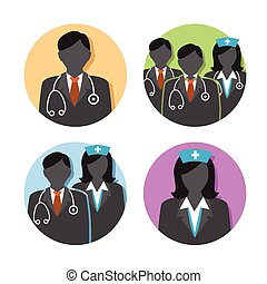 Medical Healthcare Doctor and Nurse Icons with People Figures and Stethoscopes, Nurse's Hats, and Scrubs