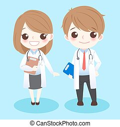 cute cartoon doctors stand and smile to you