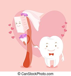 cartoon tooth marry with brush