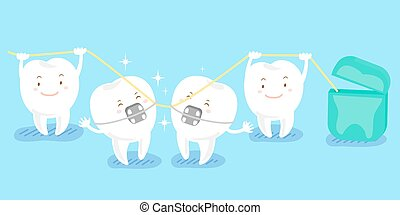 cartoon tooth playing with floss - cute cartoon tooth...