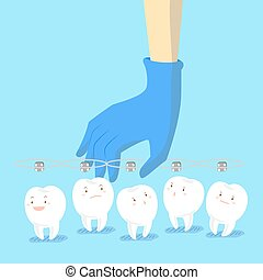 doctor hand picking teeth - cartoon doctor hand is picking...