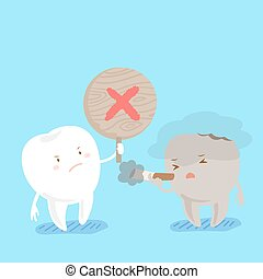 tooth with refusal to smoke - cute cartoon tooth with...