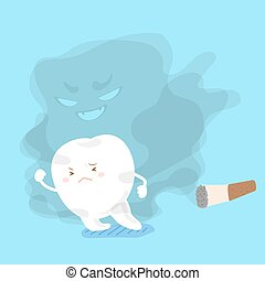 tooth away from smoking - cute cartoon tooth feel afraid...