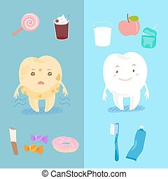healthy tooth with decay tooth - cute cartoon healthy tooth...