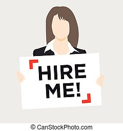 Woman holding Hire Sign - Woman in suit holding Hire Me Sign