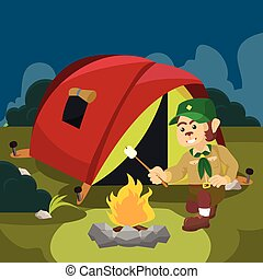 monkey scout campfire illustration design