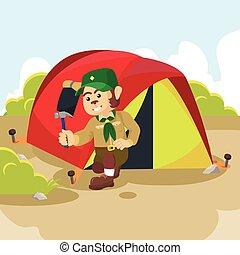 monkey scout preparing tent