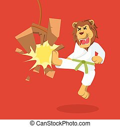 lion green belt karateka breaking board