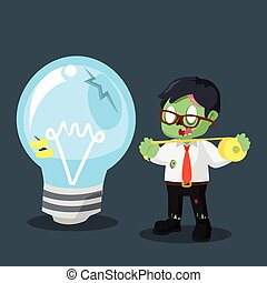 zombie businessman use duct tape to fix bulb