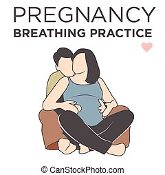 Pregnant Wife Learning Her Breathing Relaxation Techniques...