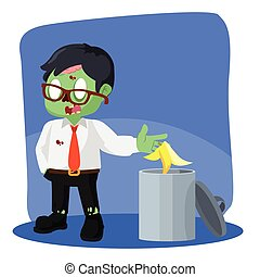 zombie businessman throw banana peel in trash can