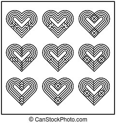 Abstract heart twiseted set