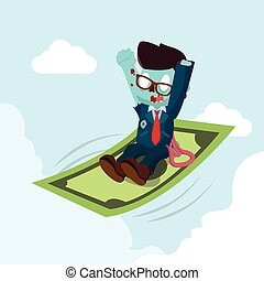 zombie businessman ride a flying money
