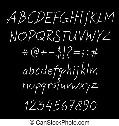 White vector alphabet written with a pen on tablet.