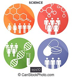 Science and Research Icons Round Set 3/3 - Medical...