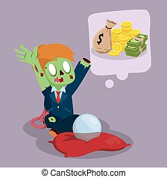 zombie businessman wishing a lot of money